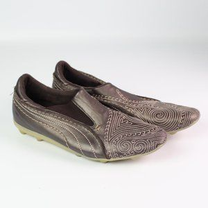 Puma Shoes - Puma brown leather slip on shoe embroidered loafer